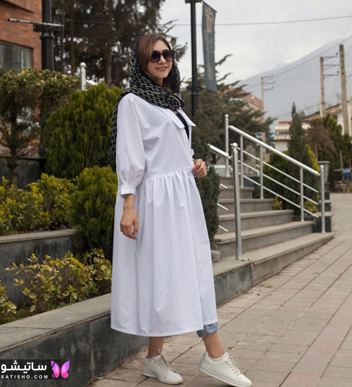 manto sefid satisho 34 - مدل مانتو سفید در طرح های اسپرت تابستانی و مجلسی زنانه 1400