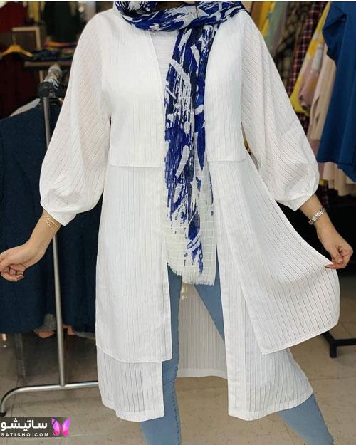 manto sefid satisho 39 - مدل مانتو سفید در طرح های اسپرت تابستانی و مجلسی زنانه 1400