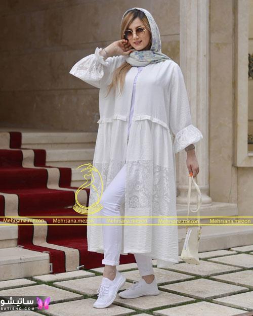 manto sefid satisho 45 - مدل مانتو سفید در طرح های اسپرت تابستانی و مجلسی زنانه 1400