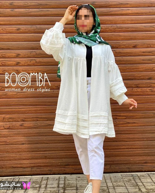 manto sefid satisho 50 - مدل مانتو سفید در طرح های اسپرت تابستانی و مجلسی زنانه 1400