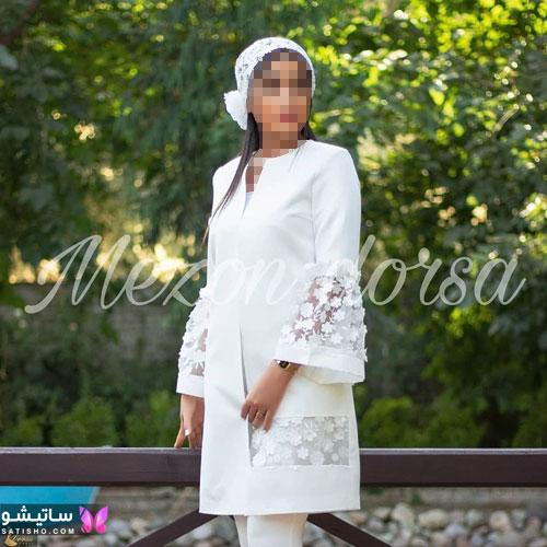 manto sefid satisho 59 - مدل مانتو سفید در طرح های اسپرت تابستانی و مجلسی زنانه 1400