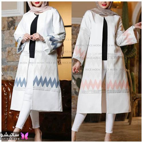 manto sefid satisho 61 - مدل مانتو سفید در طرح های اسپرت تابستانی و مجلسی زنانه 1400